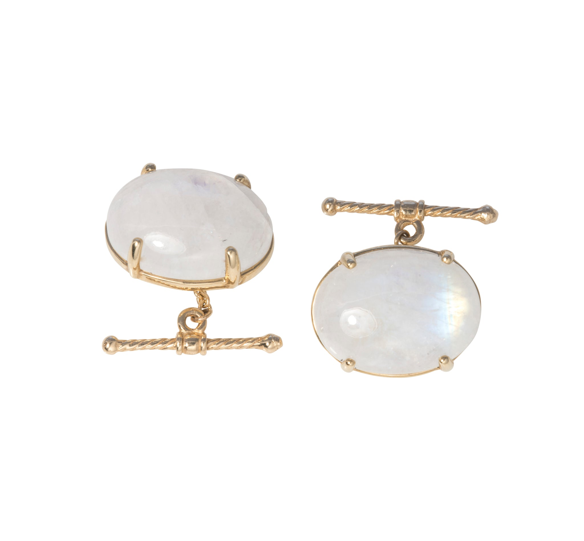 Dudley VanDyke Moonstone Oval 14K Gold Cufflinks