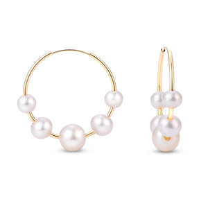 AA Freshwater Pearl Endless Hoop Earrings