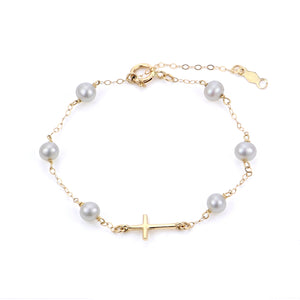 4mm AA Freshwater Pearl Station & Cross Bracelet