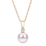 7mm A Akoya Pearl & Diamond 14K Yellow Gold Pendant Necklace