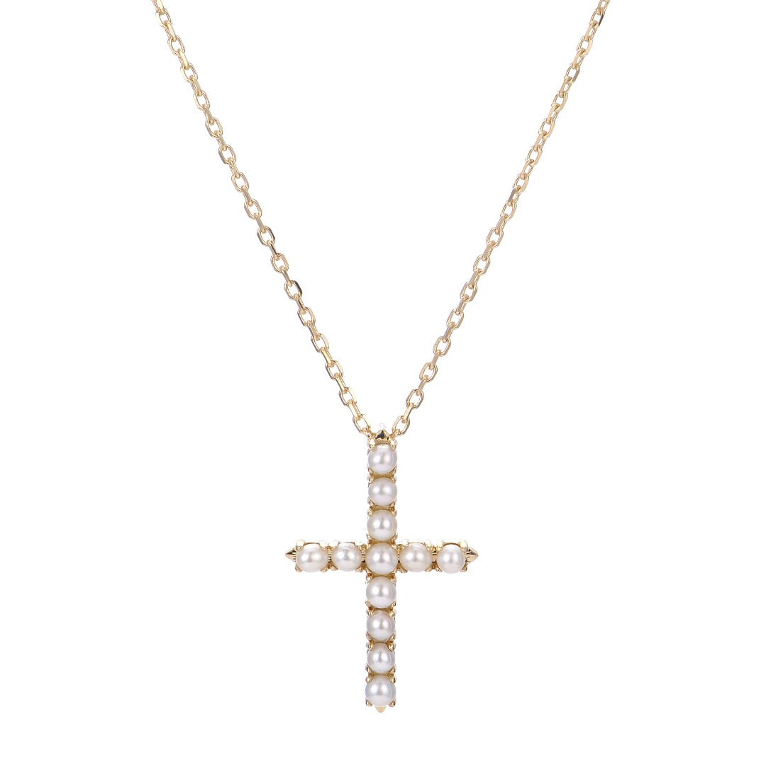 Freshwater Seed Pearl Cross Pendant Necklace