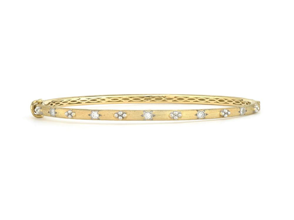 JudeFrances Provence Beaded Quad Diamond Brushed Bangle
