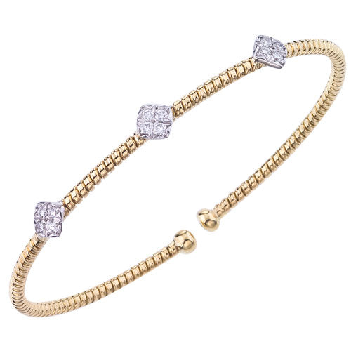 .30ct Diamond 3-Station 18K Yellow Gold Flex Cuff Bangle