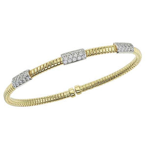 .55ct Diamond Pave Station 18K Gold Flex Cuff Bangle