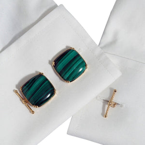 Dudley VanDyke Cushion Malachite 14K Gold Cufflinks