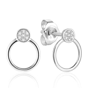 This pair of earrings feature diamond pave round studs with open circle drops in 14K white gold.
