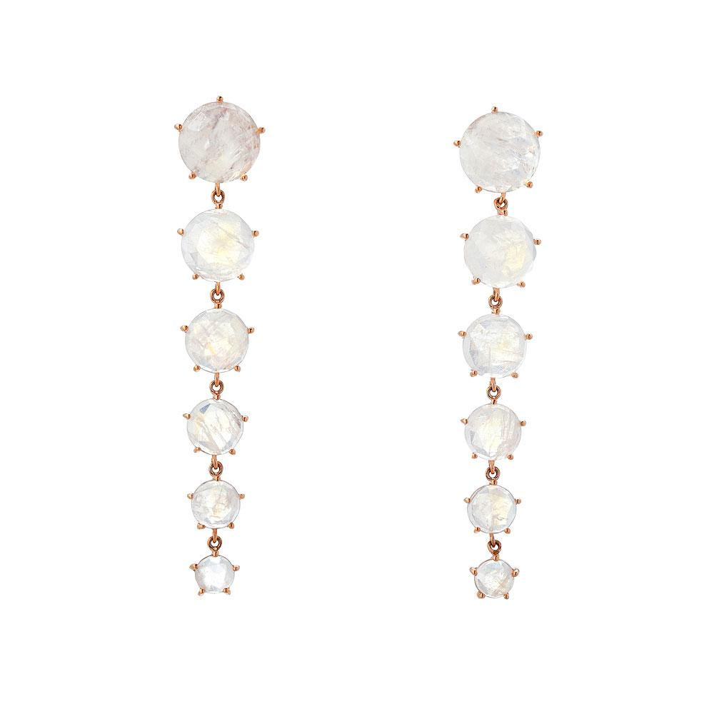Rainbow Moonstone 14K Rose Gold Drop Earrings