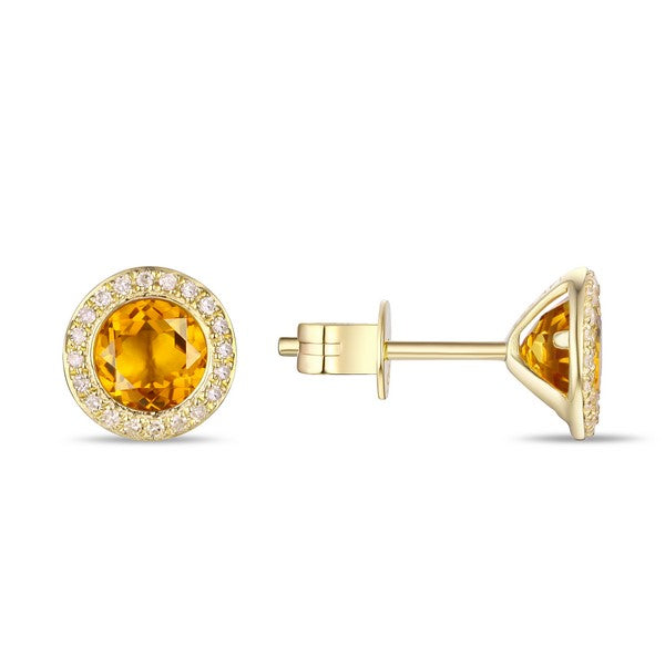 Citrine & Diamond Halo 14K Yellow Gold Stud Earrings