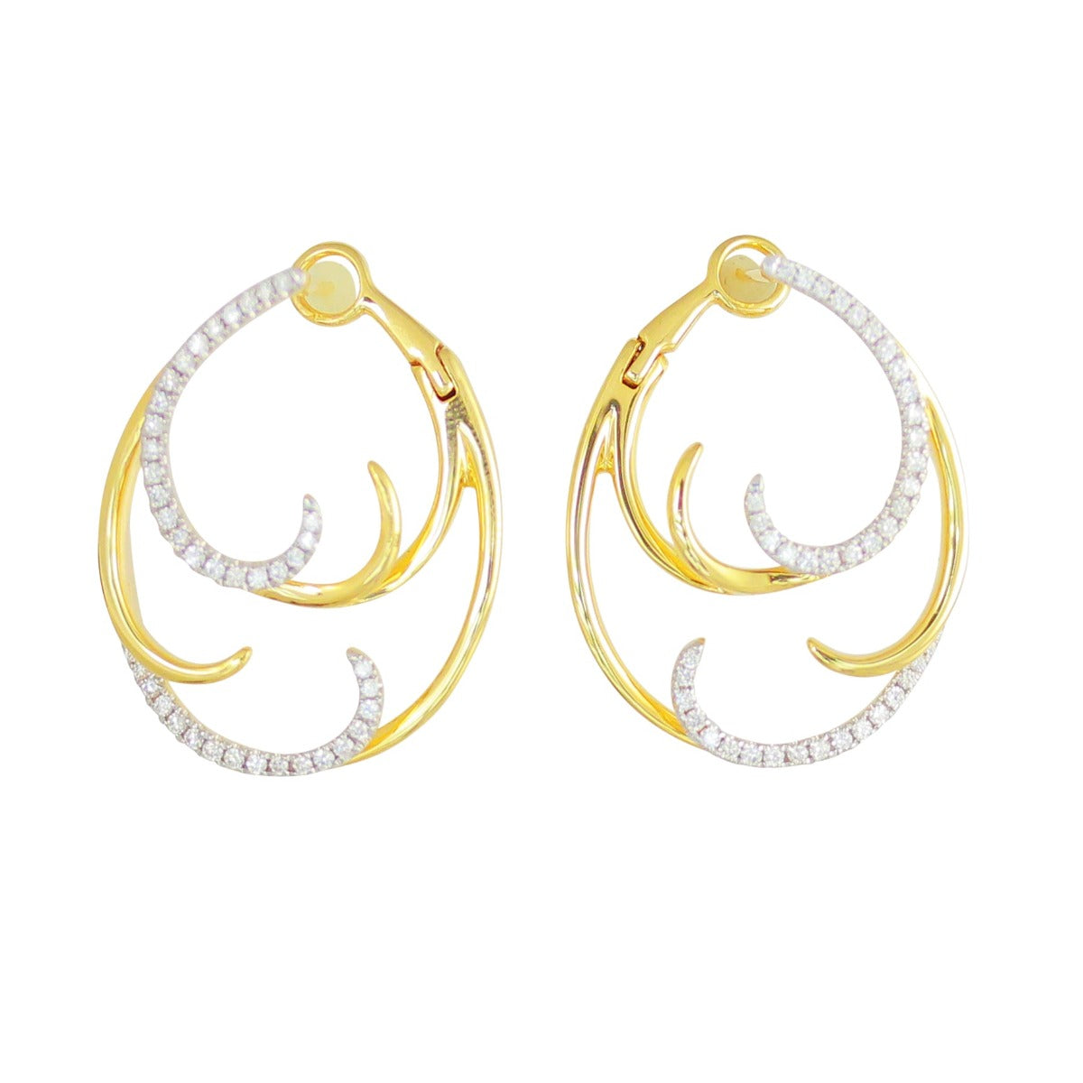 Diamond & 14K Gold Double Wave Hoop Earrings