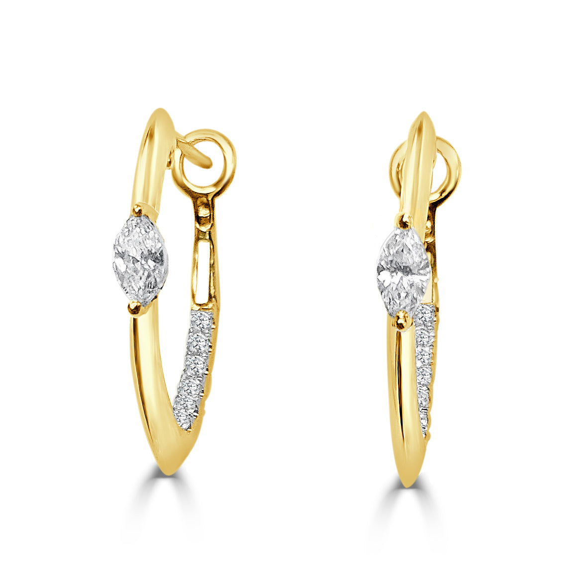 Marquise Diamond & 14K Gold Hoop Earrings