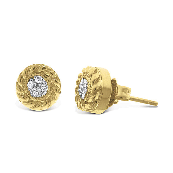 Diamond Cluster 14K Yellow Gold Stud Earrings