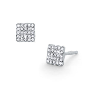 Diamond Pavé Square Stud Earrings