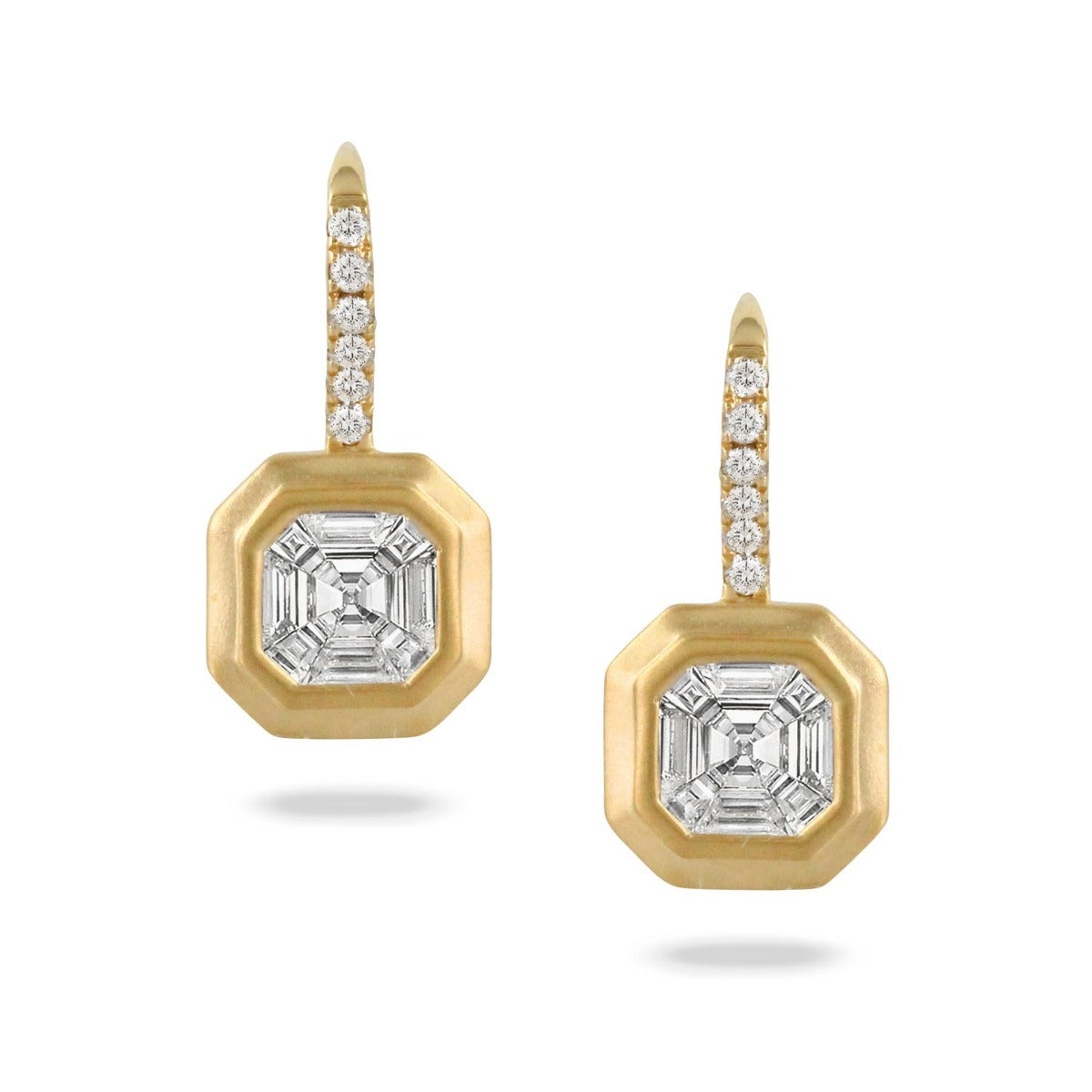 Diamond Invisible Set 18K Yellow Gold Drop Earrings