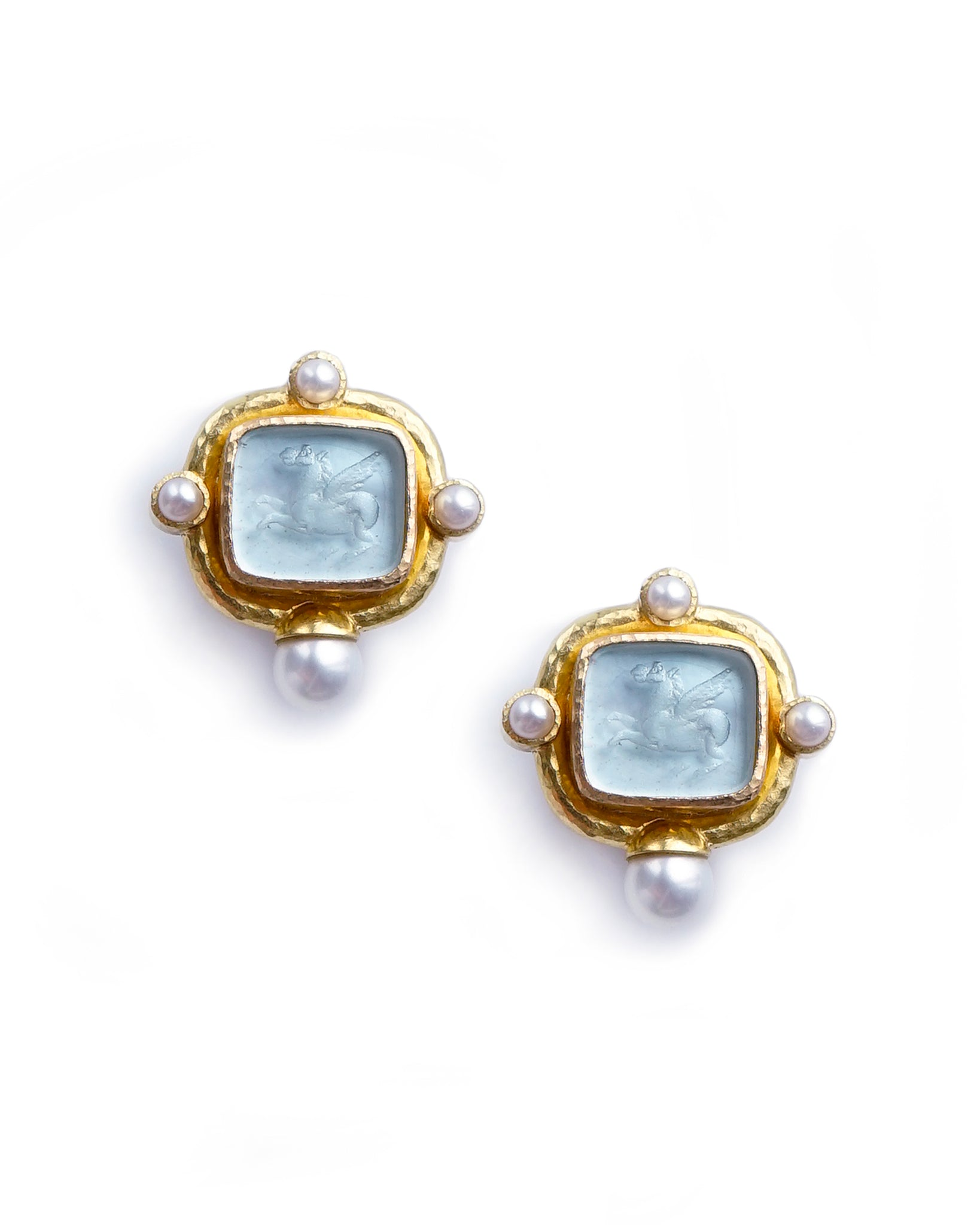 Elizabeth Locke Light Aqua Square Pegasus Earrings