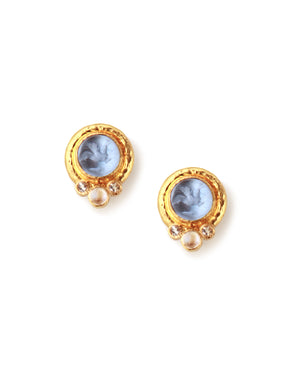 Elizabeth Locke Cerulean Tiny Griffin & Moonstone Earrings