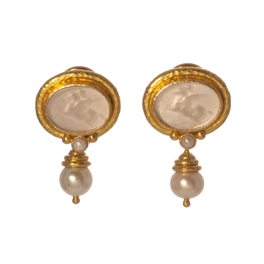 Elizabeth Locke Crystal Venetian Glass & Pearl Drop Earrings