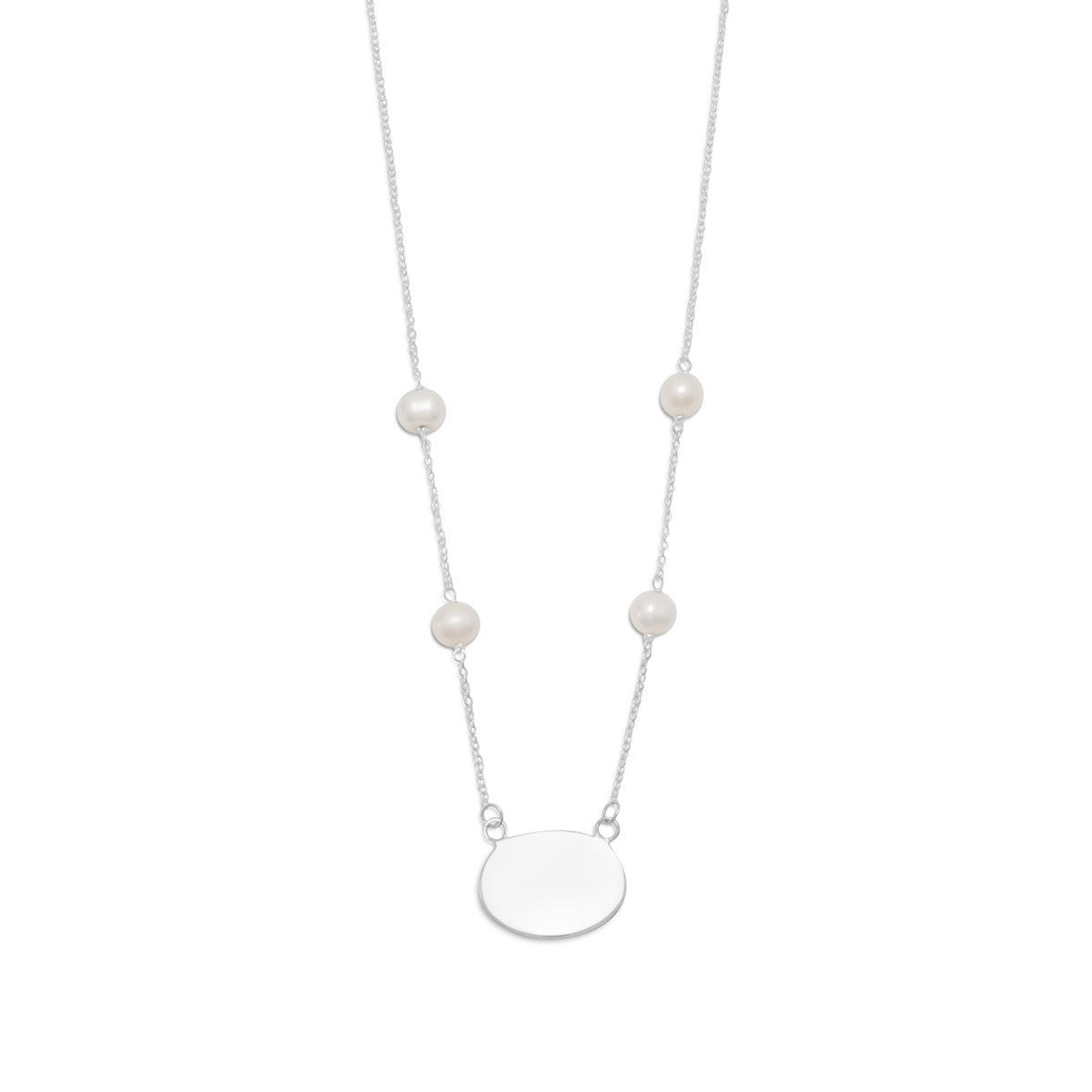 This necklace features an engravable oval nameplate ID tag pendant on a split chain with 4 cultured freshwater pearl stations in .925 sterling silver.