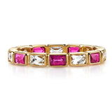 Single Stone Julia Ruby & Diamond 18K Yellow Gold Band