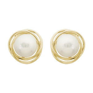 Button Pearl 14K Gold Love Knot Stud Earrings