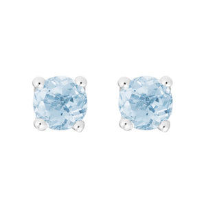 Petite Aquamarine 14K White Gold Stud Earrings March Birthstone
