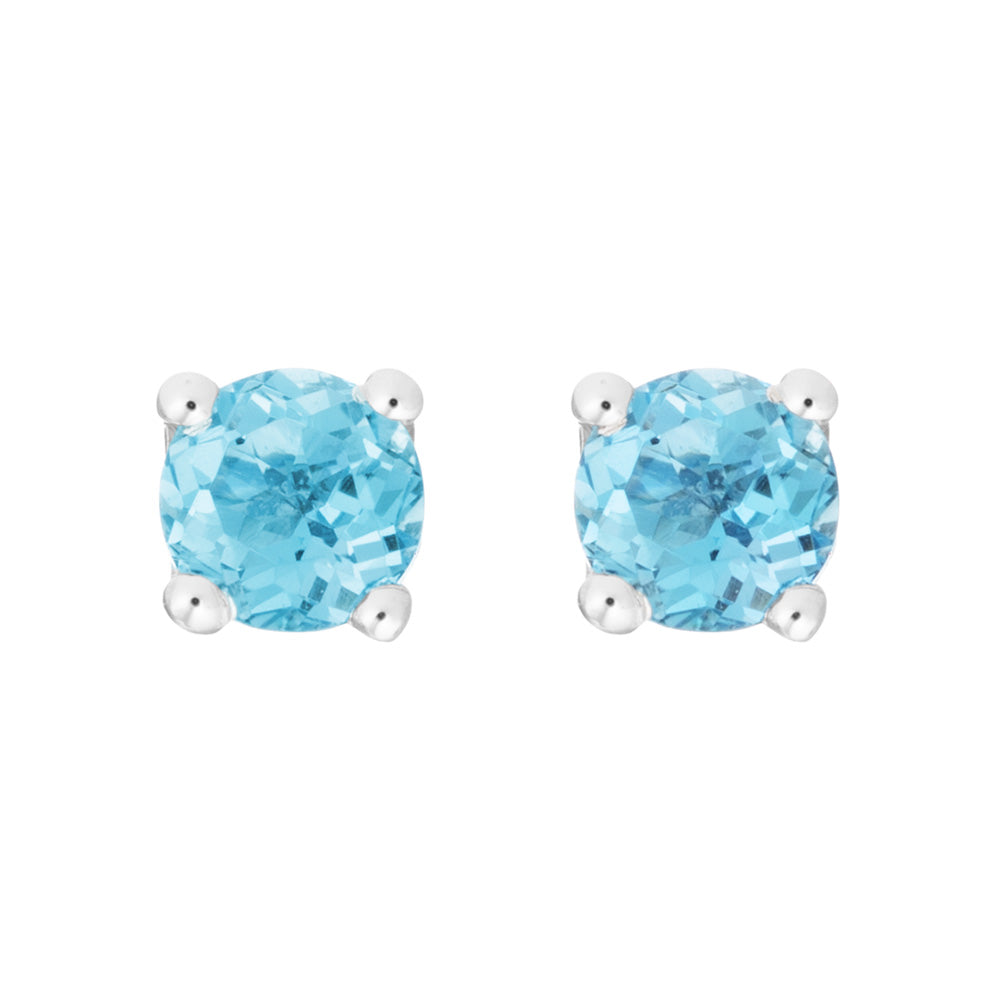 Petite Blue Topaz 14K White Gold Stud Earrings December Birthstone
