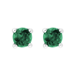Petite Emerald 14K White Gold Stud Earrings