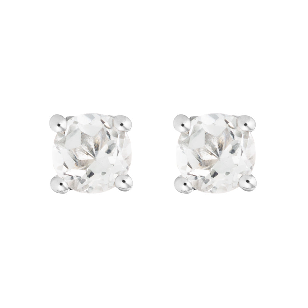Petite White Topaz Stud Earrings