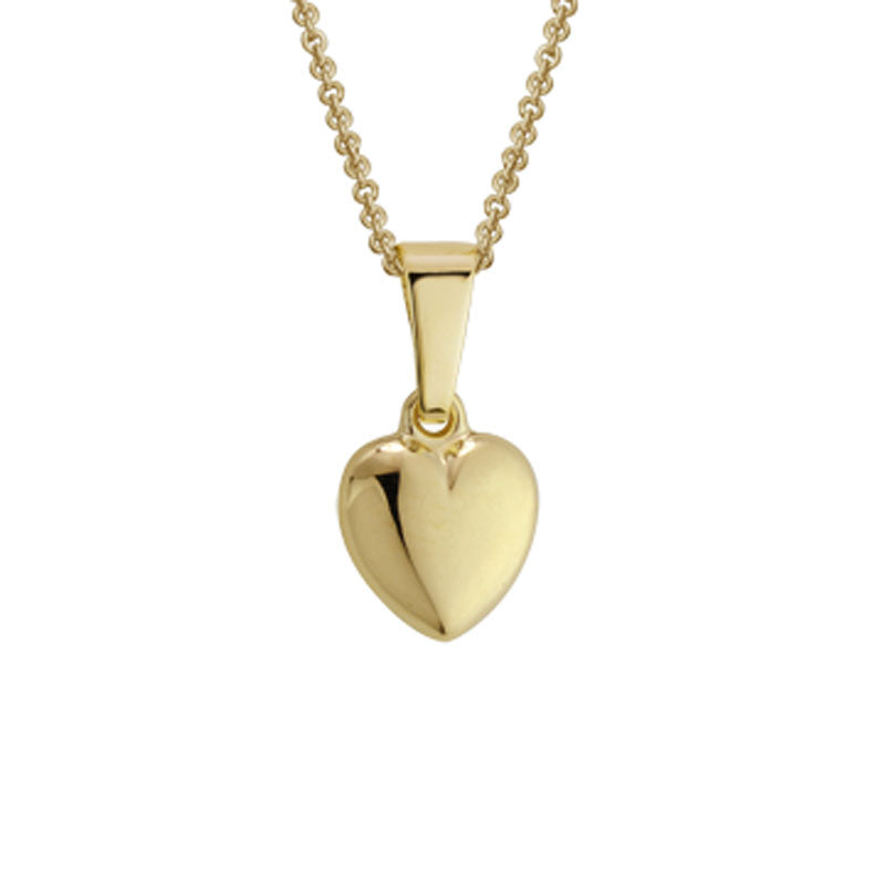 14K Gold Puffy Heart Pendant Necklace