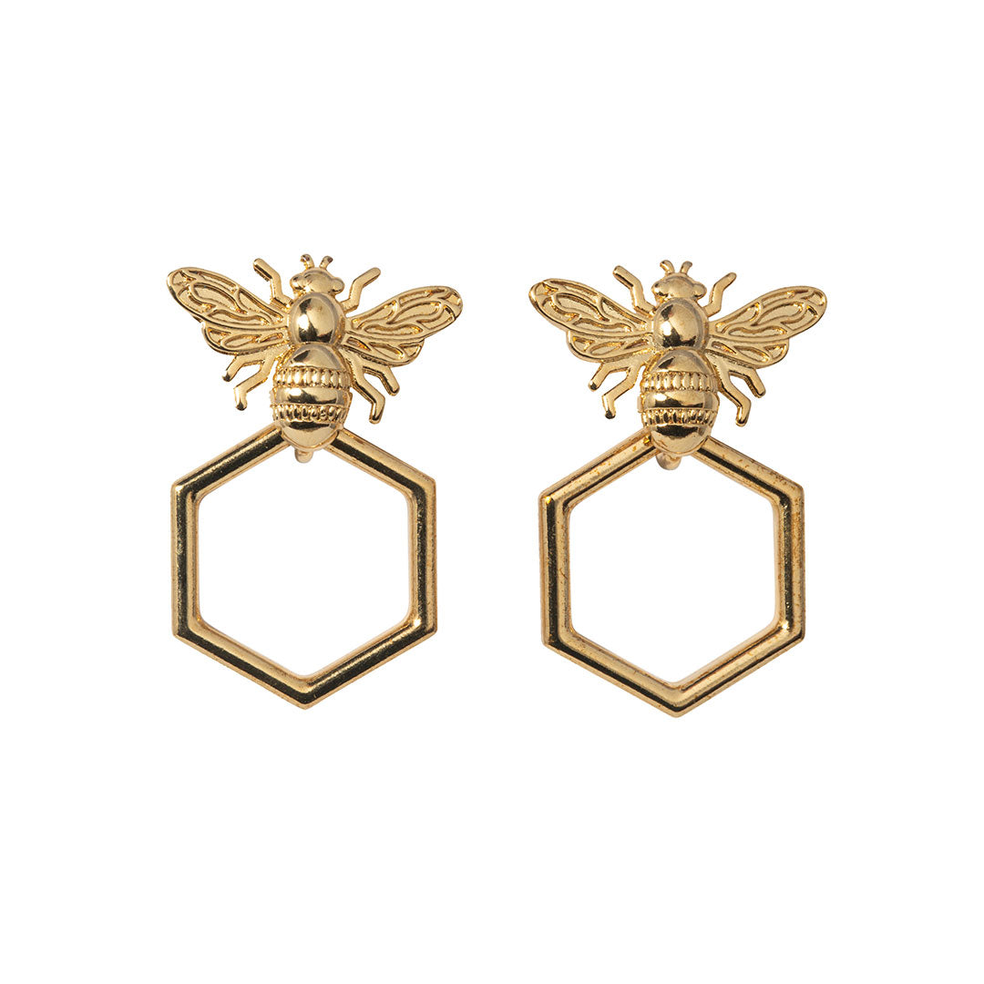 Goldbug Collection's Beehive Hoop Earrings feature bee studs with forward-facing hexagon honeycomb hoop drops.