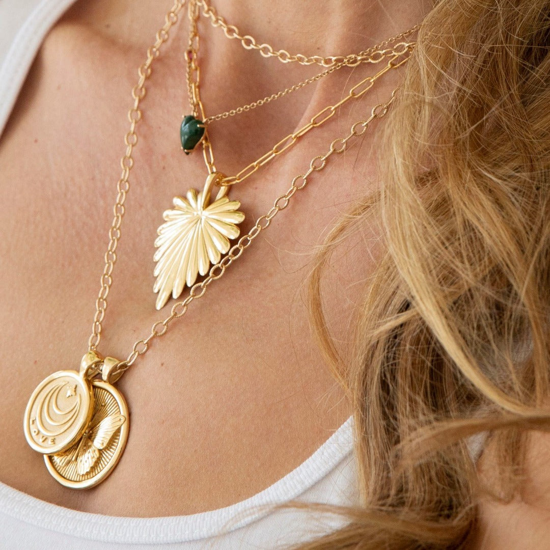 Jane Win Love Full Heart Palm Leaf Pendant Necklace