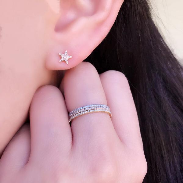 Diamond Moon & Star 14K Rose Gold Stud Earrings