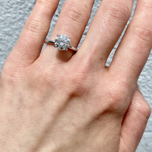 2.02ct Diamond Solitaire 14K White Gold Engagement Ring