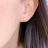 Small Starfish Diamond Pavé 14K Gold Stud Earrings