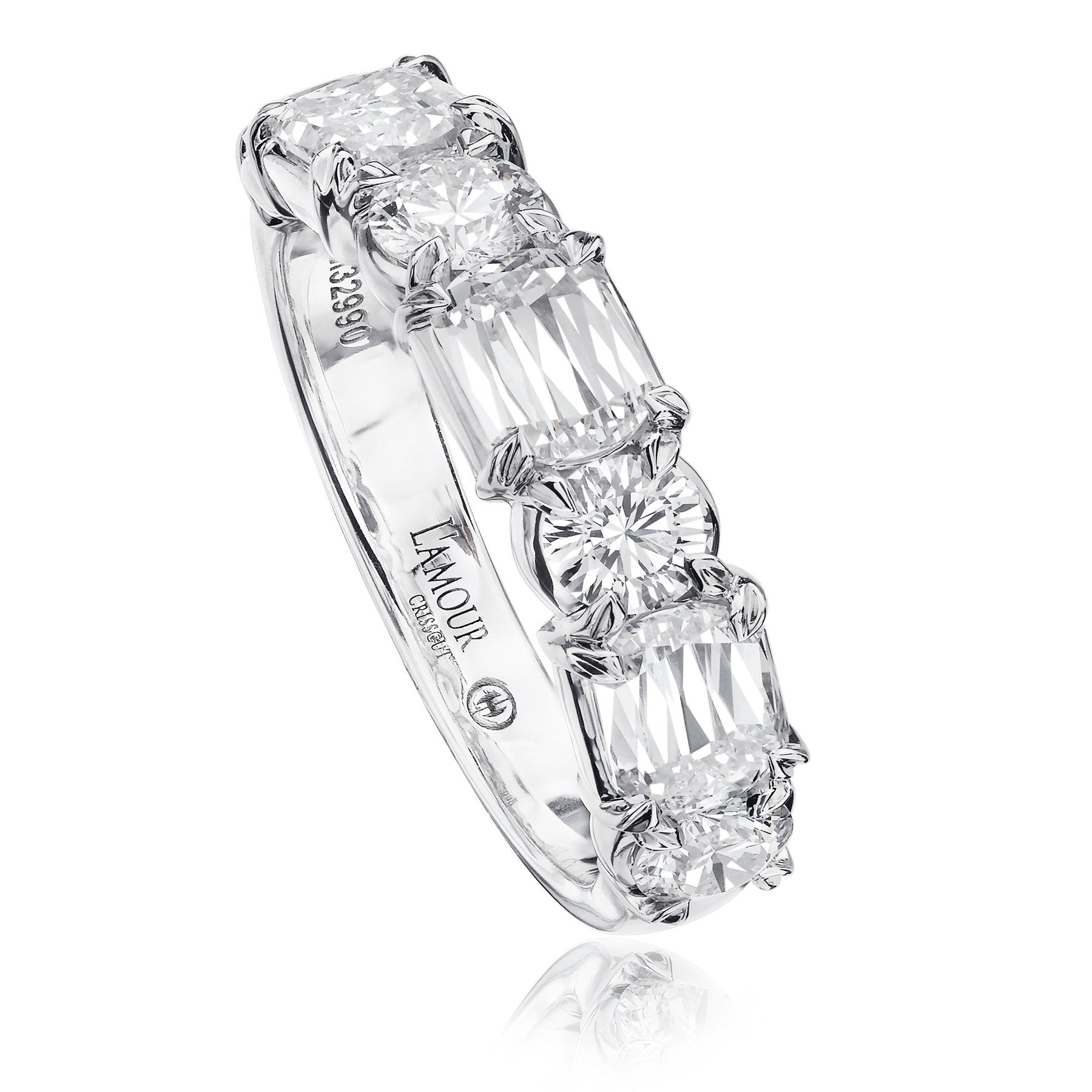 Christopher Designs Wedding Band features 3 L'Amour Crisscut diamonds and 4 Crisscut Round diamonds in 14K white gold shared prong settings going halfway around the finger.