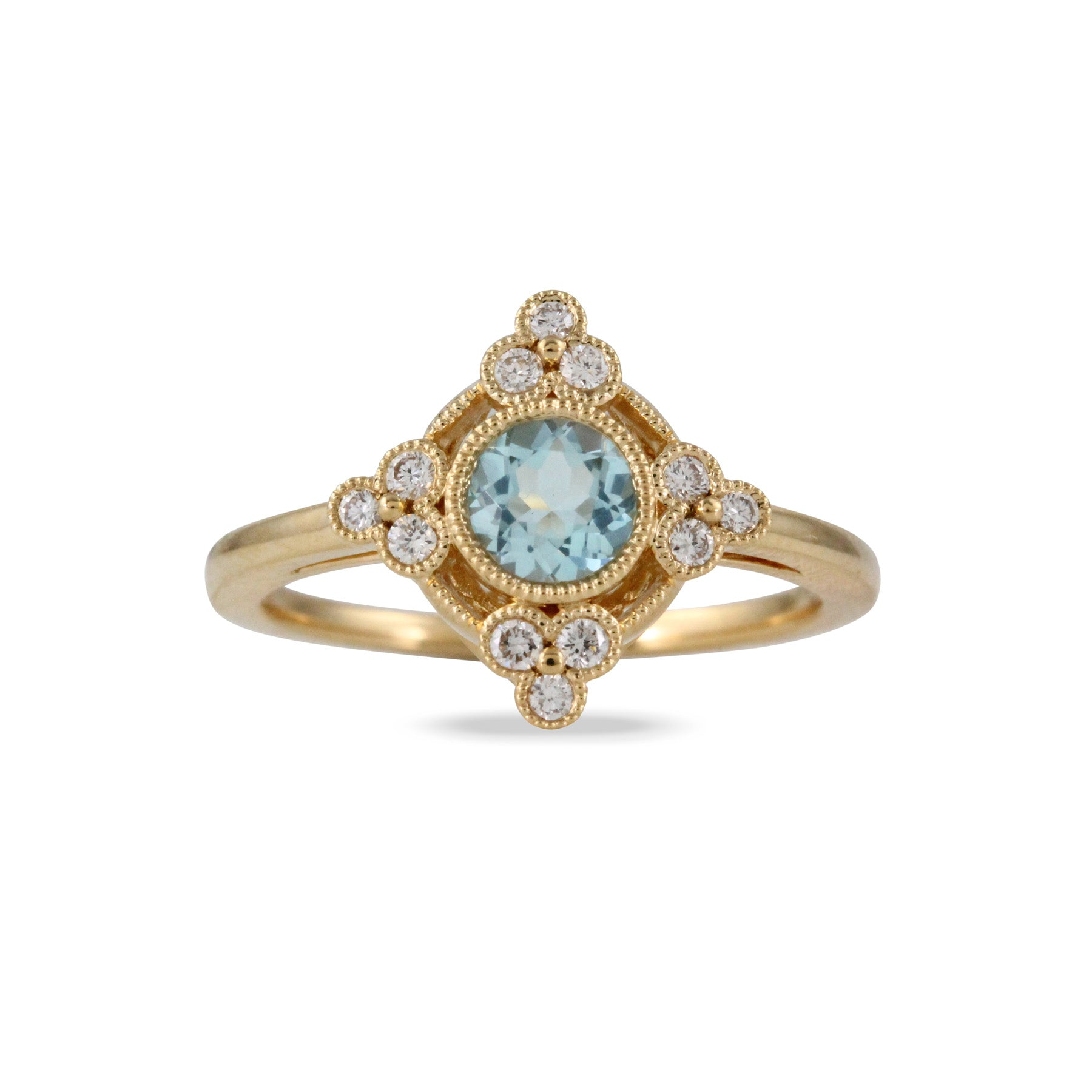 Blue Topaz & Diamond Milgrain 18K Yellow Gold Ring
