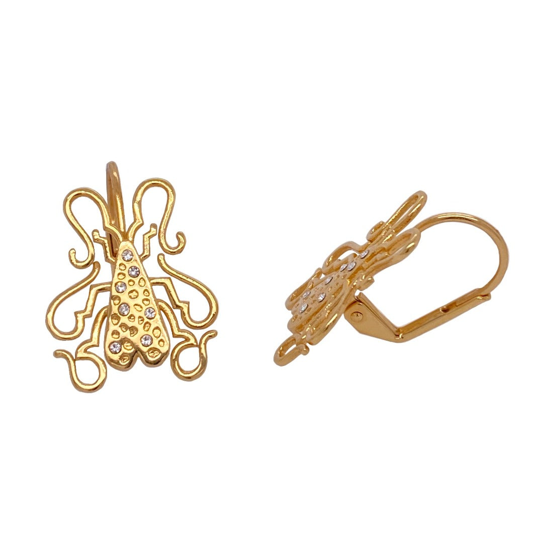 Goldbug Collection's Doodlebug Leverback Earrings.  18K yellow gold-plated  Leverbacks
