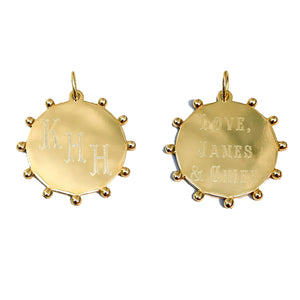 14K Yellow Gold Bead Accent 20mm Disc Charm