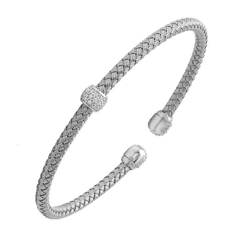 CZ Rhodium-Plated Silver 4mm Mesh Reversible Cuff