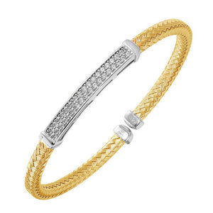Charles Garnier Paris Daniela Sterling Silver 18K Gold Finish CZ Stone Cuff Bangle Bracelet