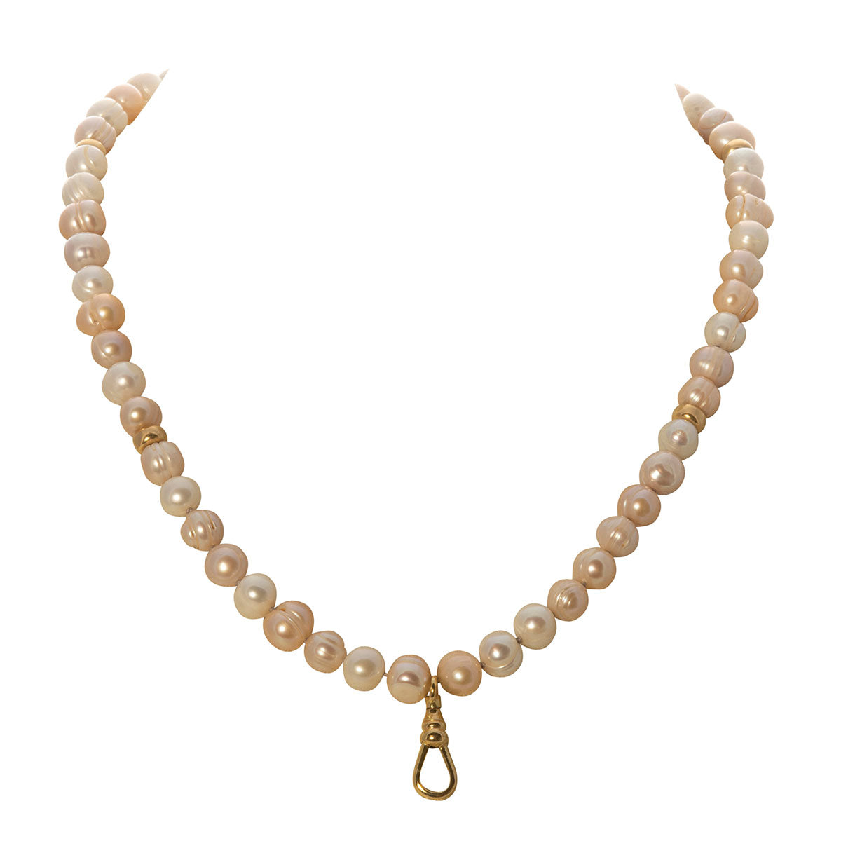 Pink Pearl & Gold-Filled Swivel Clip Necklace 30""