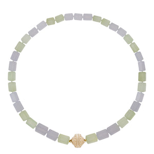 Clara Williams Prehnite & Blue Chalcedony Hexagon Necklace