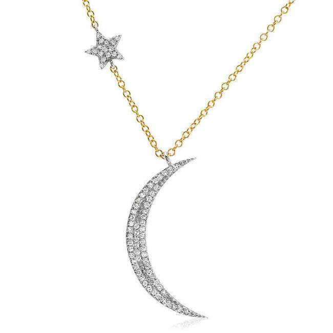 Diamond Crescent Moon & Star 14K Gold Necklace