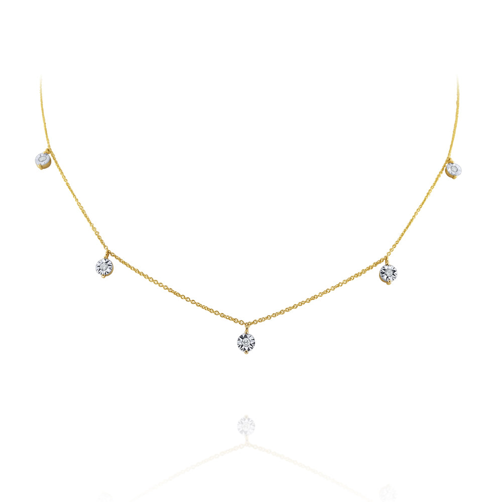 Diamond Drop Station 14K Yellow Gold Necklace