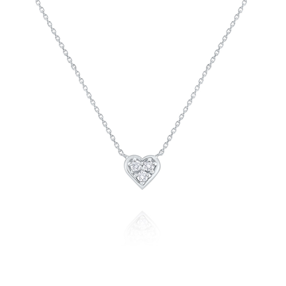 Diamond Heart 14K White Gold Pendant Necklace