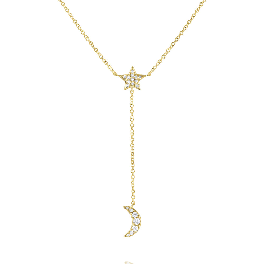 Diamond Star & Crescent Moon 14K Gold Lariat Necklace