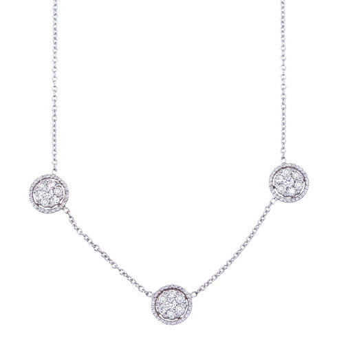 3-Station Diamond Cluster 14K White Gold Necklace