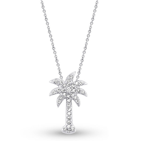 Diamond Palmetto Tree Pendant Necklace