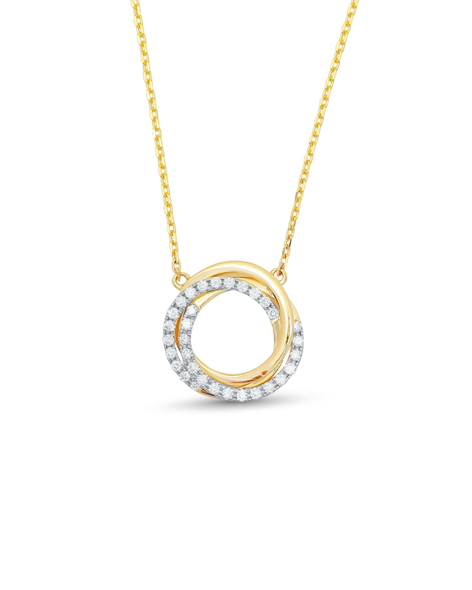 Diamond & 14K Gold Tri Halo Pendant Necklace