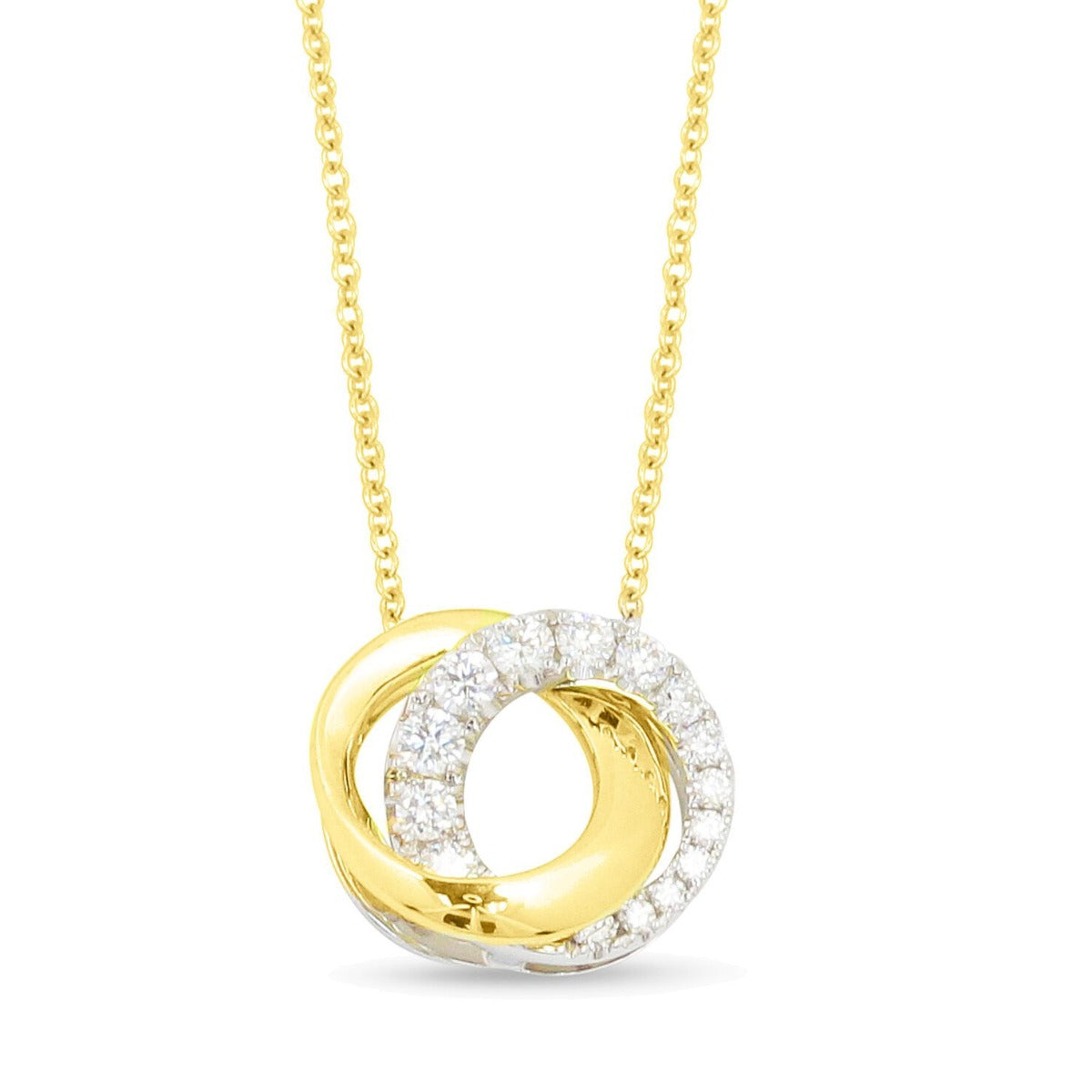Diamond Double Halo 14K Yellow Gold Pendant Necklace
