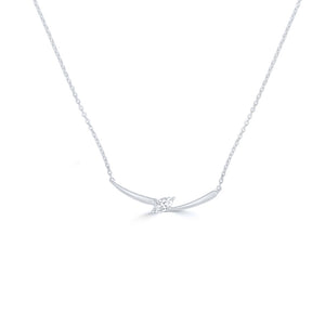 Marquis Diamond 14K White Gold Curved Bar Necklace